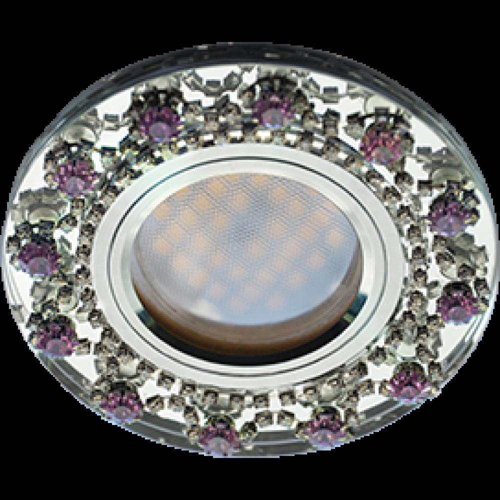 Ecola MR16 DL1660 GU5.3 Glass Стекло Круг с прозр.и аметист. стразами Корона (оправа хром)/фон зерк