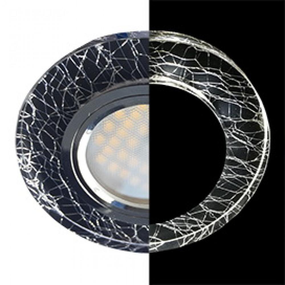 Ecola MR16 LD1650 GU5.3 Glass Стекло с подсветкой Круг Колотый лед на черном / Хром 25x95 (кd74)