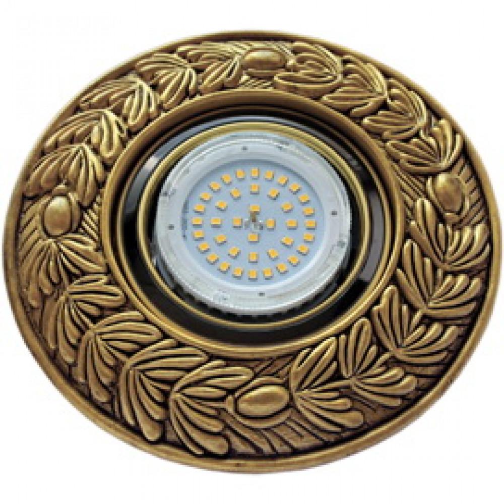 """Ecola накладка широкая гипсовая """"оливковый венок"""" для встр. свет-ка GX53 H4 черненое золото 23х195"""