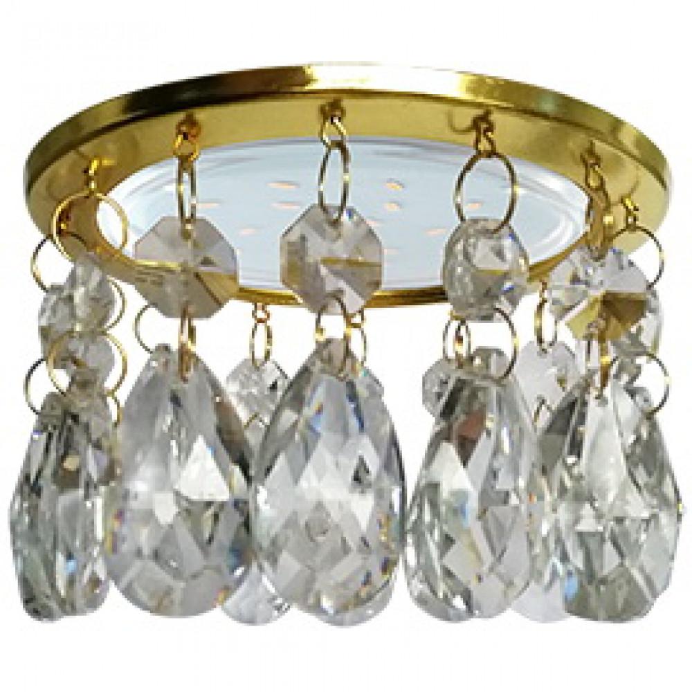 Ecola GX53 H4 5350 Glass Круг с каплевидными хруст. на прямом подвесе Прозрачный / Золото 102x105