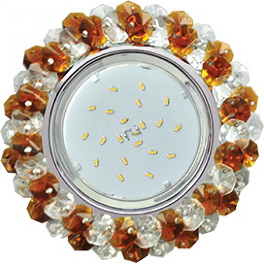 Ecola GX53 H4 5341 Glass Круглый с хрусталиками Прозрачный и Янтарь /Хром 56x120 (к+)