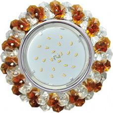 Ecola GX53 H4 5341 Glass Круглый с хрусталиками Прозрачный и Янтарь /Хром 56x120 (к+) [FO53RYECB.]