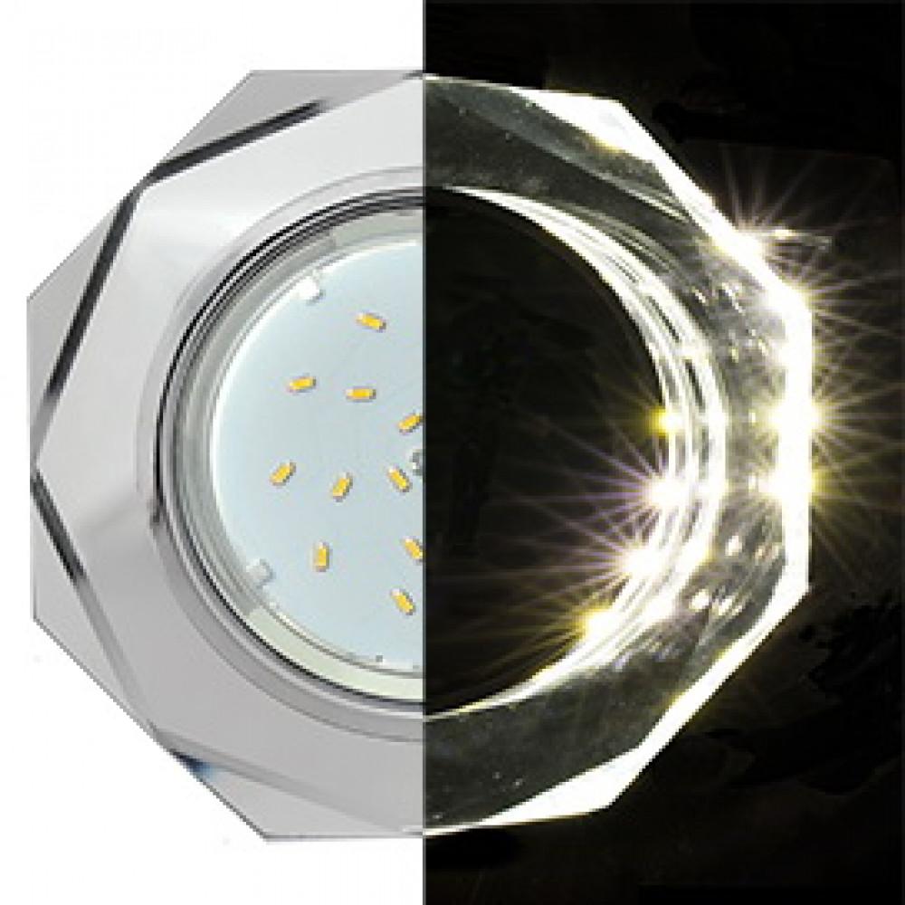 Ecola GX53 H4 LD5312 Glass Стекло 8-угольник с прямыми гранями с подсветкой хром - хром (зеркальный) 38x133 (к+)