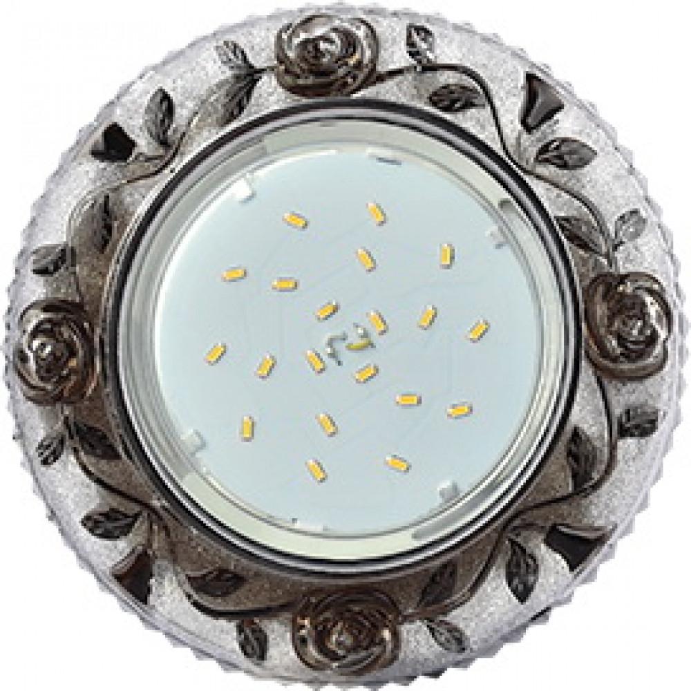 """Ecola GX53 H4 LD7071 Светильник встр. искристый с подсветкой """"Розы"""" Прозрачный и Черный / Хром 35x12"""