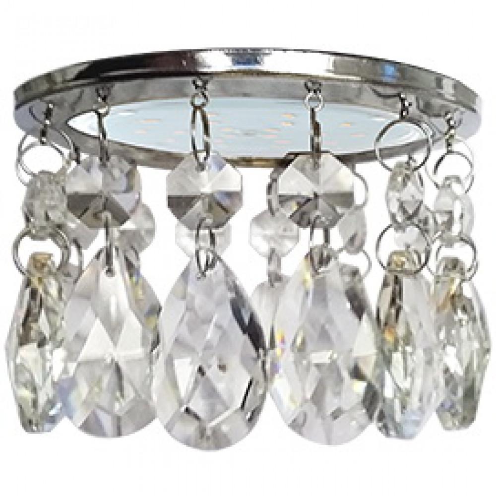 Ecola GX53 H4 5350 Glass Круг с каплевидными хруст. на прямом подвесе Прозрачный / Хром 102x105