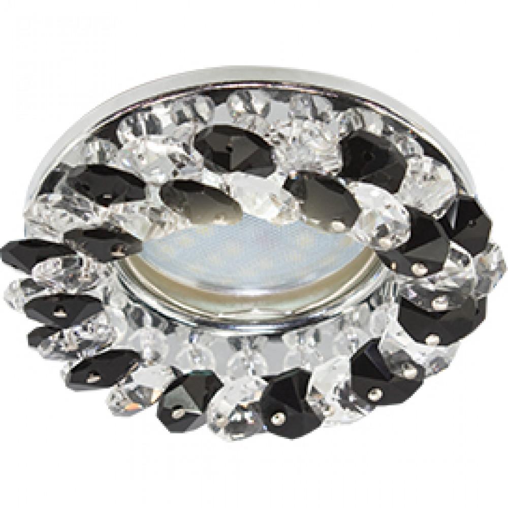 Ecola Light MR16 CD4141 GU5.3 Светильник встр. круглый с хрусталиками Прозрачный и Черный/Хром 50x90