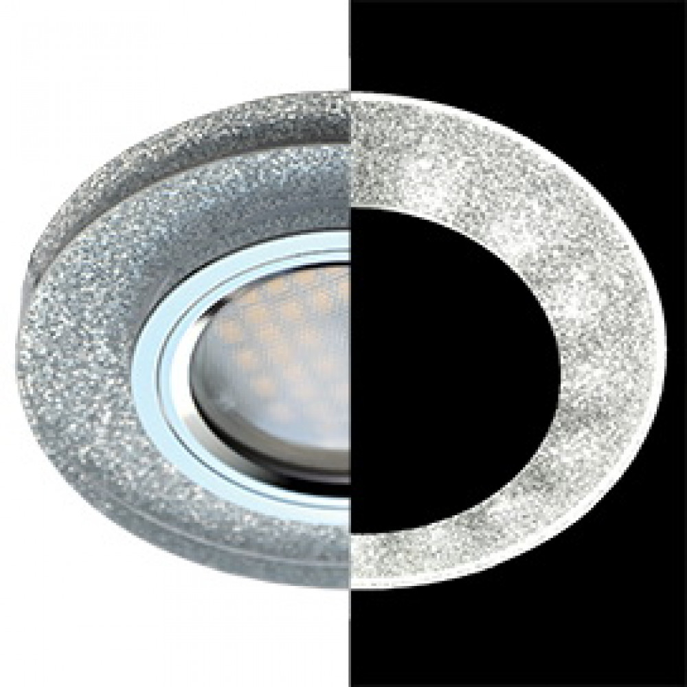 Ecola MR16 LD1650 GU5.3 Glass Стекло с подсветкой Круг Серебряный блеск / Хром 25x95 (кd74)