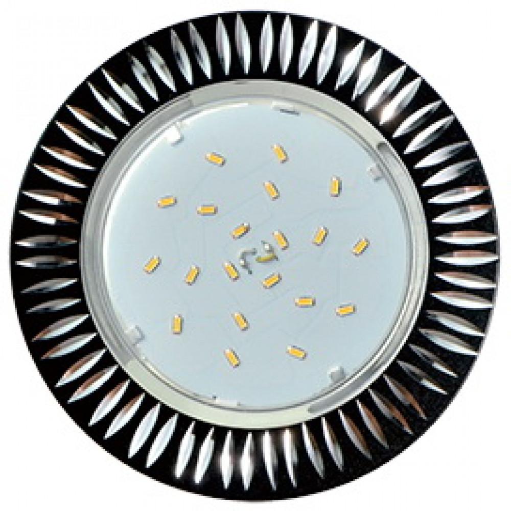 Ecola GX53 H4 DL5383 светильник встраив. без рефл. Рифленые реснички Черный/Алюм 20x110 (к+)