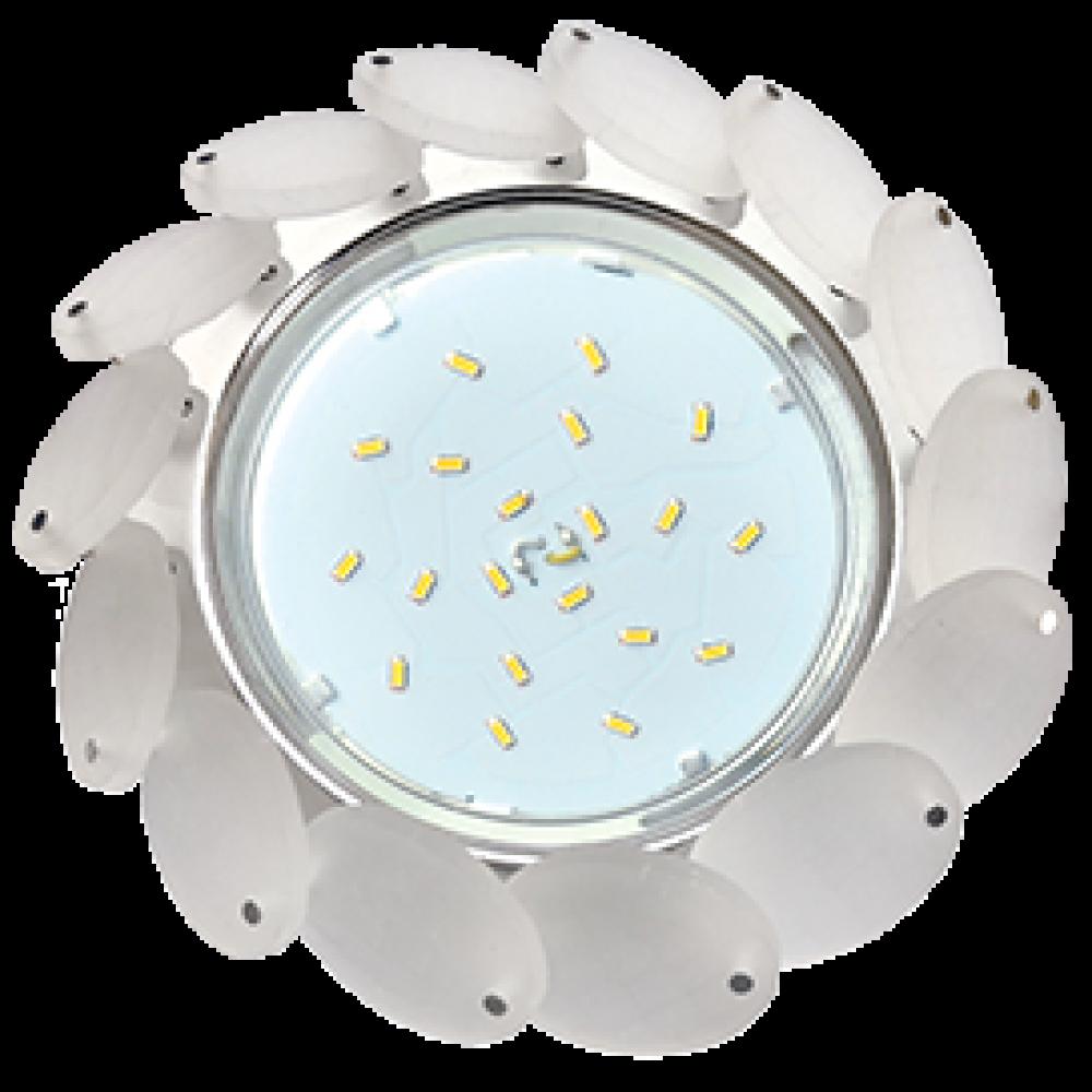 Ecola GX53 H4 5342 Glass Круглый с большими хрусталиками Матовый/Хром 56x125 (к+)