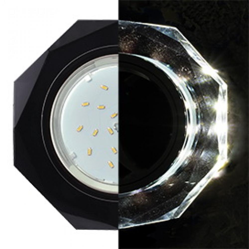 Ecola GX53 H4 LD5312 Glass Стекло 8-угольник с прямыми гранями с подсветкой черный хром - черный 38x133 (к+)