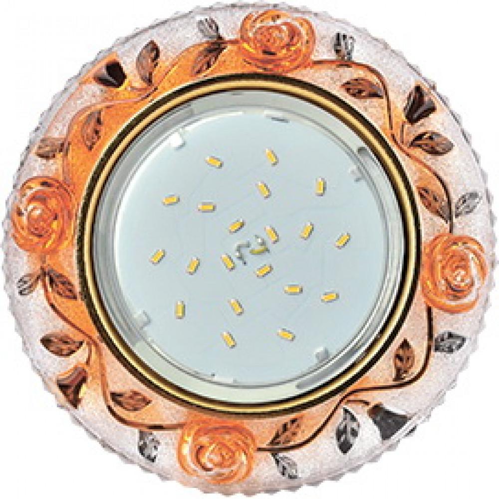 """Ecola GX53 H4 LD7071 Светильник встр. искристый с подсветкой """"Розы"""" Прозрачный и Янтарь / Золото 35x"""