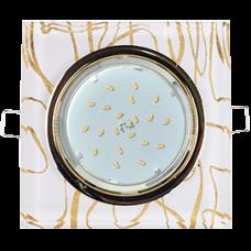 Ecola GX53 H4 5311 Glass Стекло Квадрат скошенный край Золото - золото на белом 38x120x120 (к+)