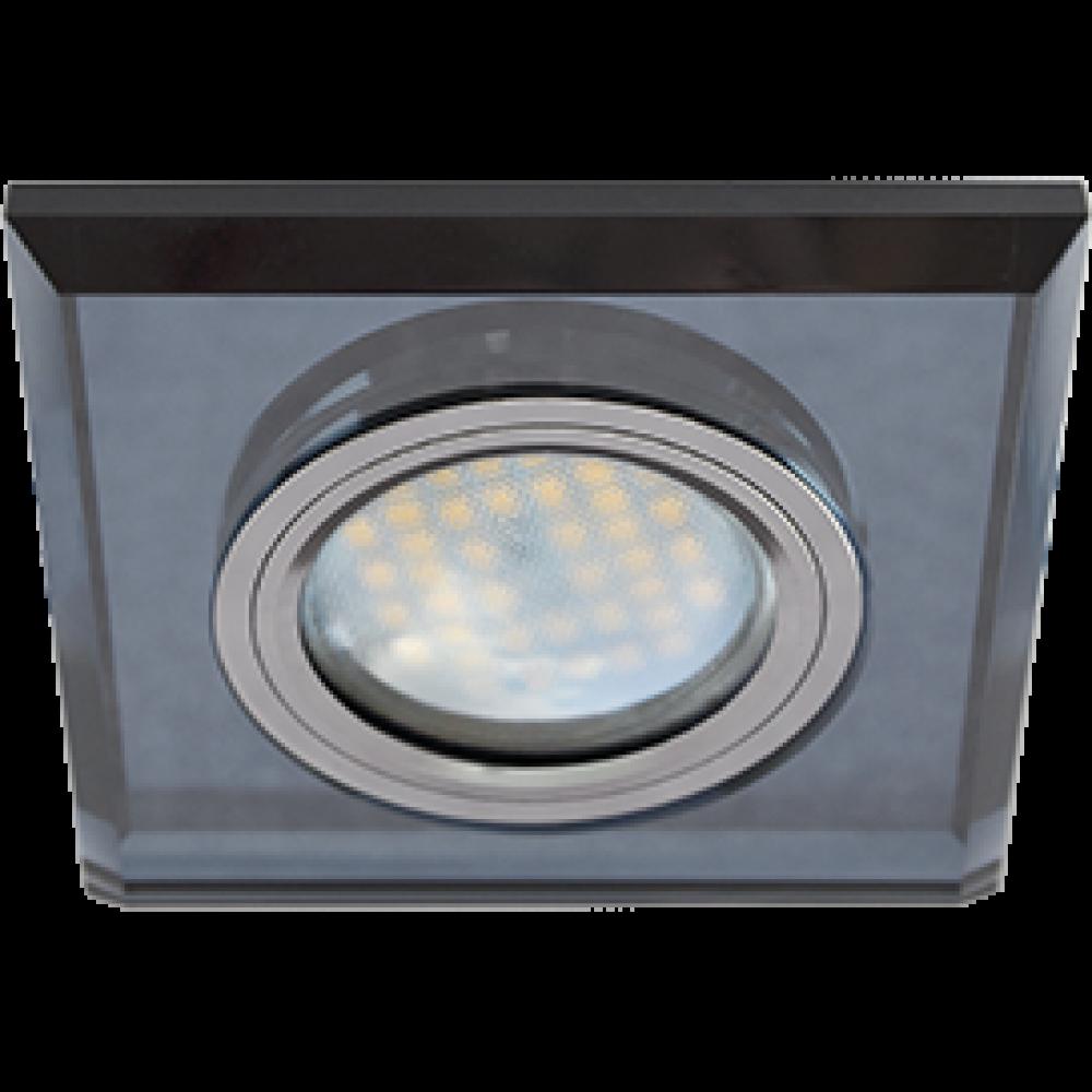 Ecola MR16 DL1651 GU5.3 Glass Стекло Квадрат скошенный край Черный / Черный хром 25x90x90 (кd74)