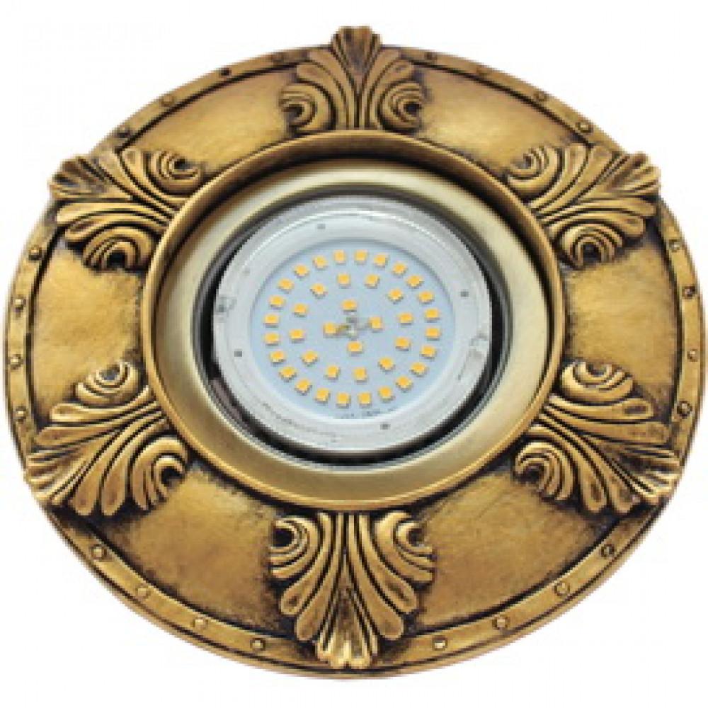 """Ecola накладка широкая гипсовая """"листья"""" для встр. свет-ка GX53 H4 черненое золото 19х195"""