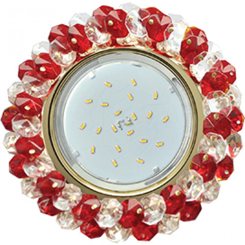 Ecola GX53 H4 Glass Круглый с хрусталиками Прозрачный и Рубин /Золото 56x120