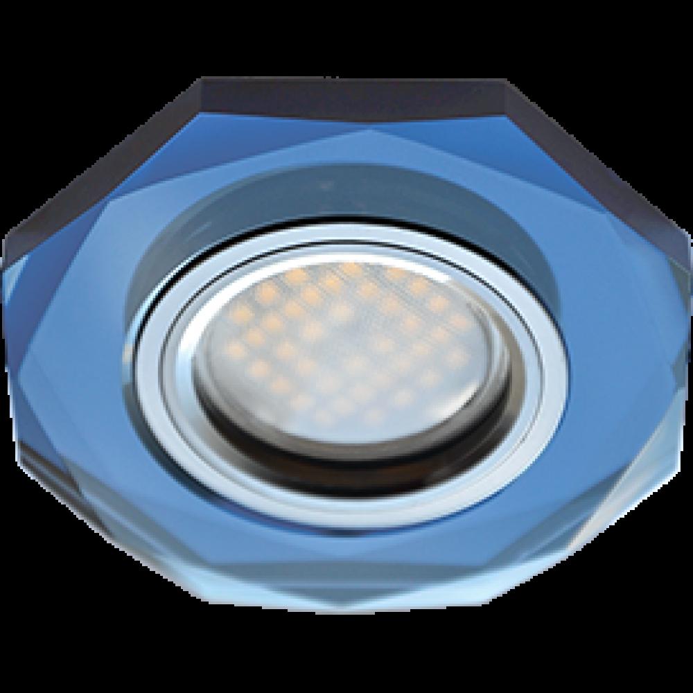 Ecola MR16 DL1652 GU5.3 Glass Стекло 8-угольник с прямыми гранями Голубой / Хром 25x90 (кd74)