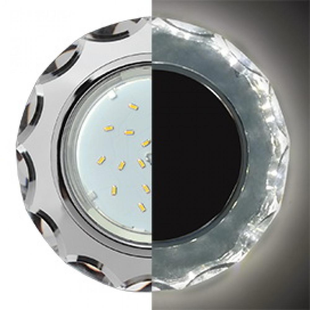 Ecola GX53 H4 LD5313 Glass Стекло Круг с вогнутыми гранями с подсветкой хром - хром (зеркальный) 38x126 (к+)
