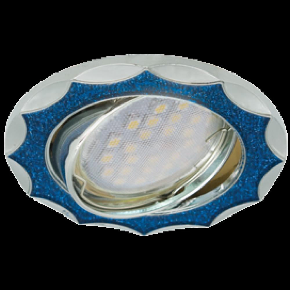 Ecola MR16 DL36 GU5.3 Светильник встр. литой поворотный Звезда под стеклом Голубой блеск/Хром 22x84