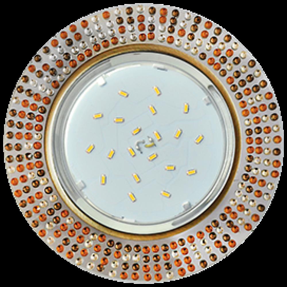 Ecola GX53 H4 5319 Glass Круг с прозр.-янтарной мозаикой/фон зерк../центр.часть черненая бронза 40x