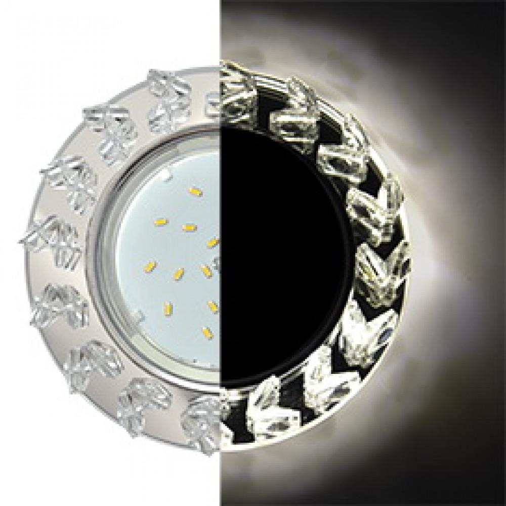 Ecola GX53 H4 LD5361 Glass Круг с крупными прозр. стразами Елочка с подсветкой/фон зерк./центр.част