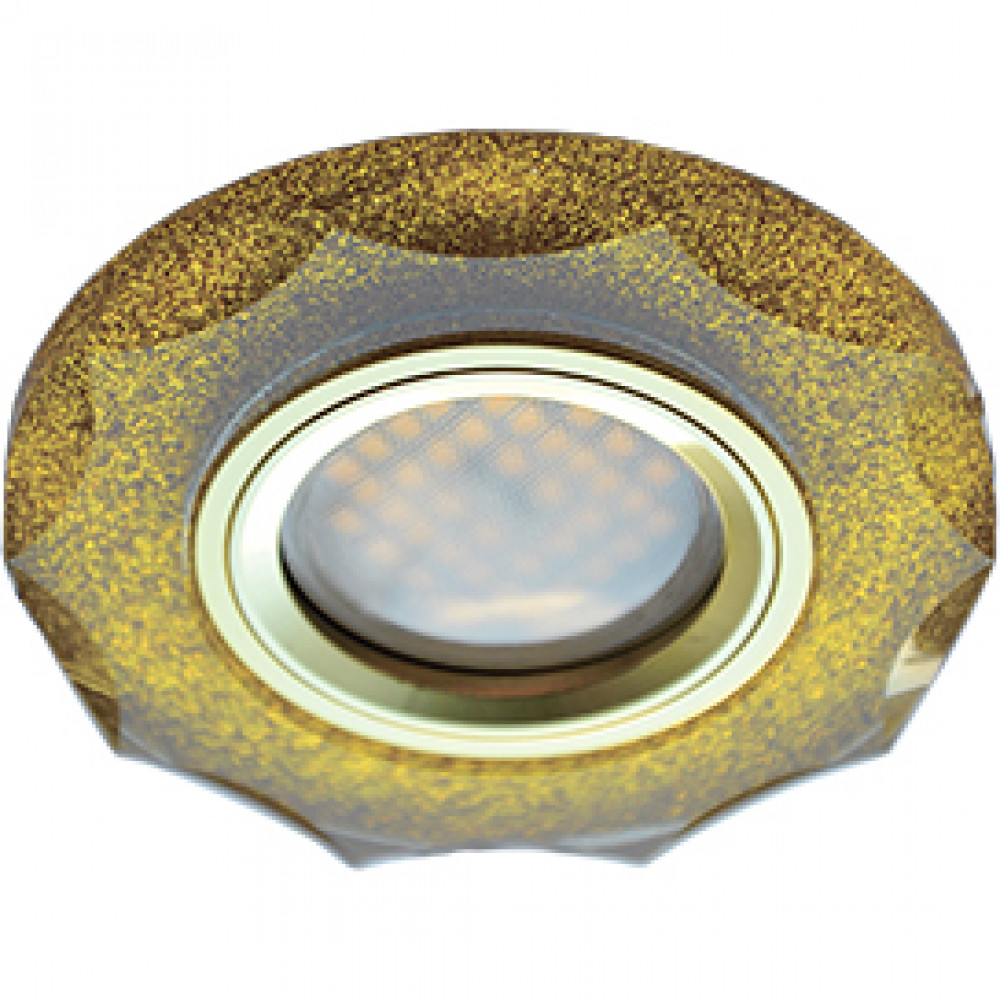 Ecola MR16 DL1653 GU5.3 Glass Стекло Круг с вогнутыми гранями Золотой блеск / Золото 25x90