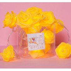 """Luazon НИТЬ с насадками """"Розы желтые"""" 7см, 20LED фиксинг, т/белый, УМС вилка, 5м"""