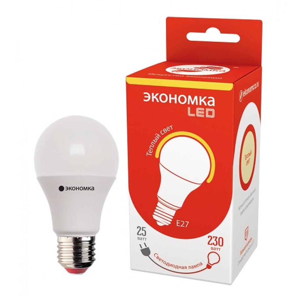 Лампа диодная A60 25Вт Е27 3000К 2250Лм Экономка (10/80)