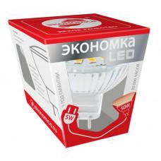 Лампа диодная MR16 GU5.3 5Вт 3000К 370Лм Экономка (10)