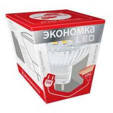 Лампа диодная MR16 GU5.3 5Вт 4500К 380Лм Экономка (10)
