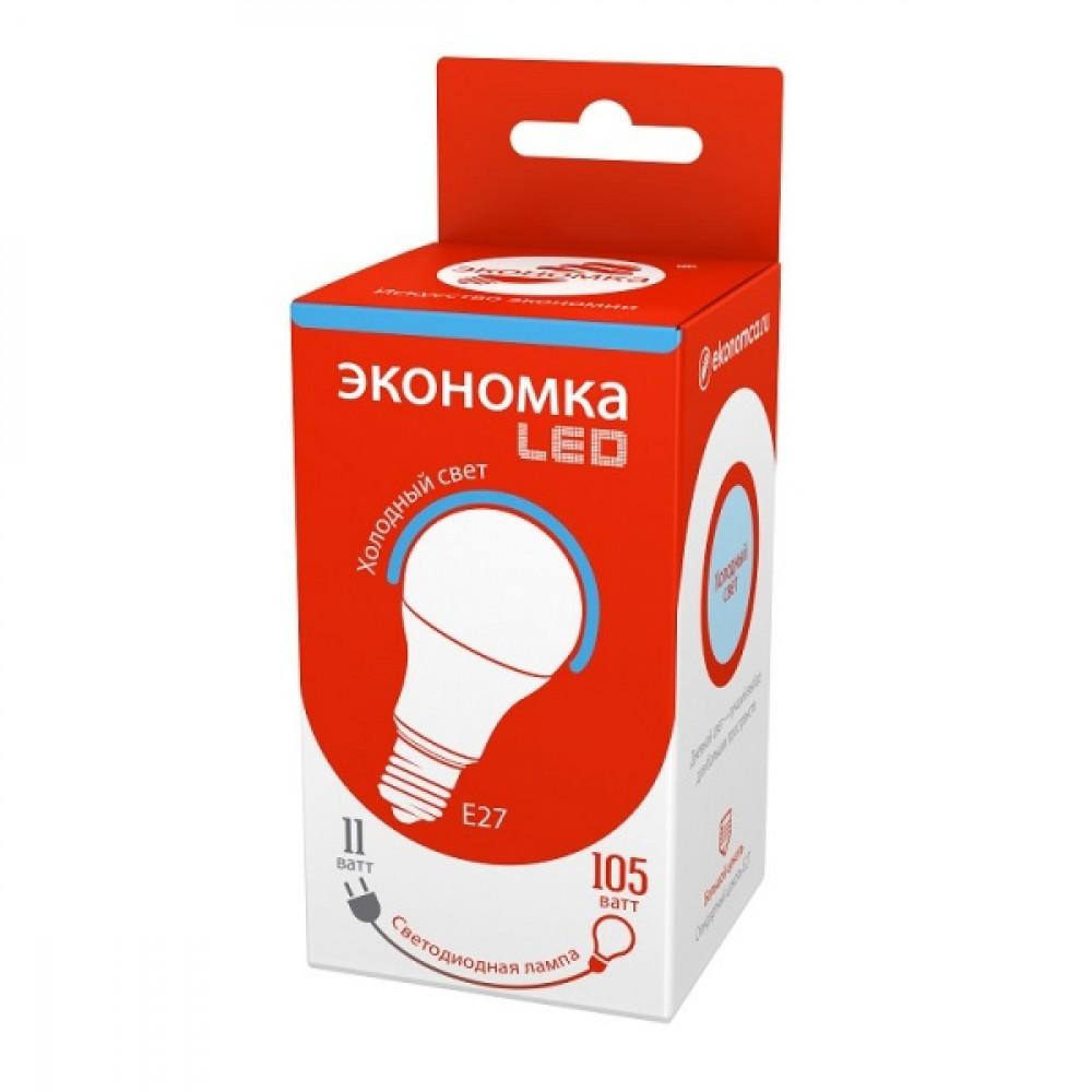 Лампа диодная A60 11Вт Е27 6500К 890Лм Экономка (10/100)