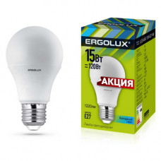 Лампа диодная A60 15Вт Е27 4500К 1220Лм Ergolux АКЦИЯ (10)