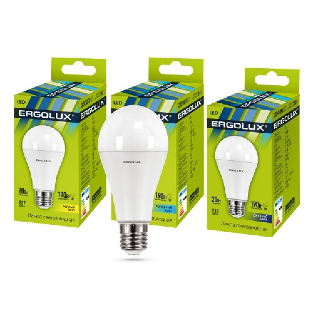 Лампа диодная A65 20Вт Е27 6500К 2000Лм Ergolux (10)