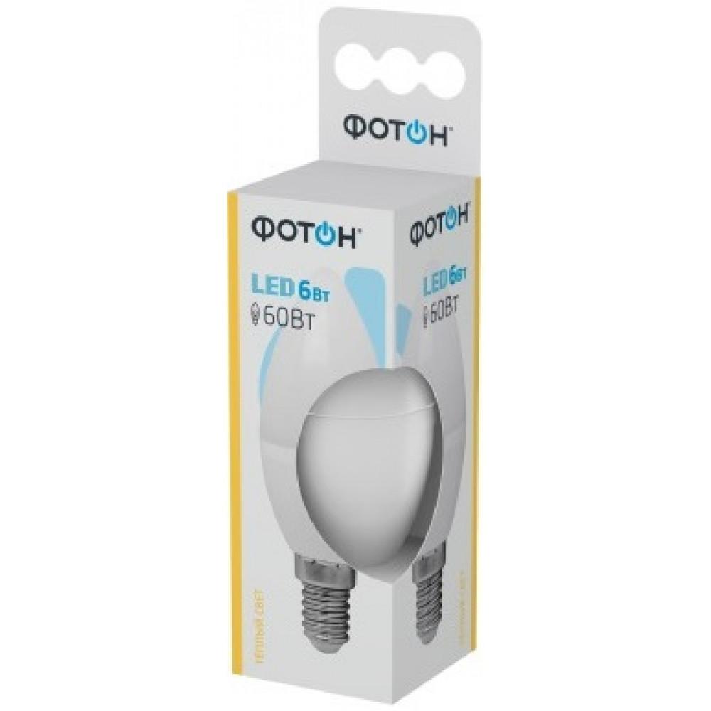 Лампа диодная свеча 6Вт Е14 4000К Фотон (10/50)
