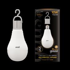 Лампа диодная A60 10Вт Е27 3000К 640Лм Gauss Black с Li-Ion аккумулятором (10/60)