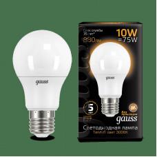 Лампа диодная A60 10Вт Е27 3000К 880Лм Gauss Black (10/50)