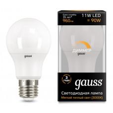Лампа диодная A60 11Вт Е27 3000К 960Лм Gauss Black диммируемая (10/50)