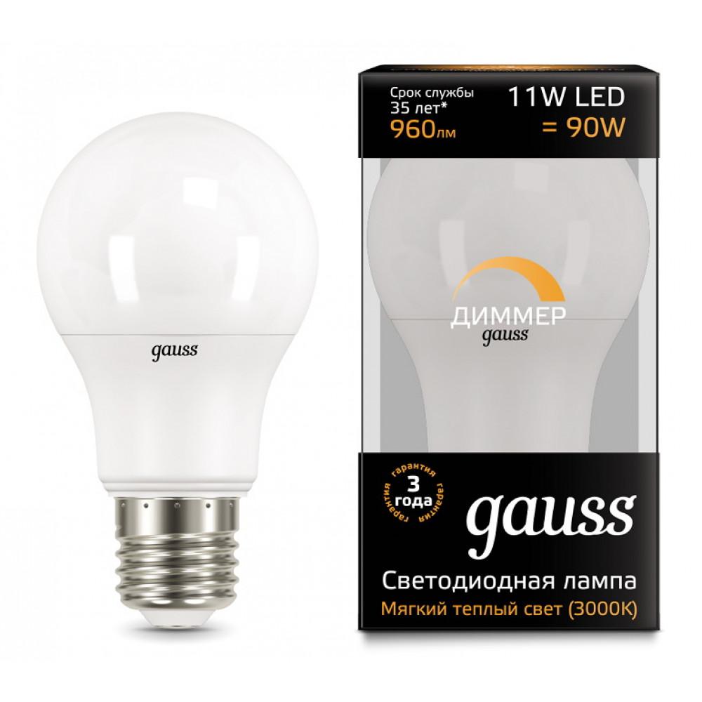 Лампа диодная A60 11Вт Е27 4100К 990Лм Gauss Black диммируемая (10/50)