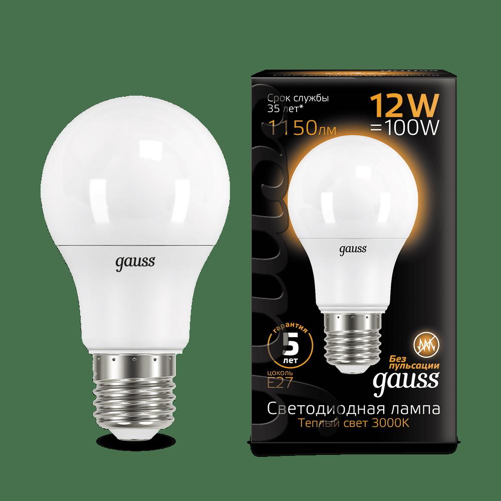 Лампа диодная A60 12Вт Е27 3000К 1150Лм Gauss Black (10/50)