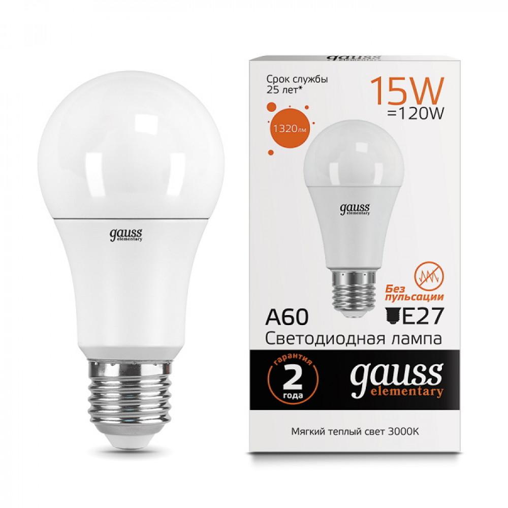 Лампа диодная A60 15Вт Е27 6500К 1480Лм Gauss Elementary (10/50)