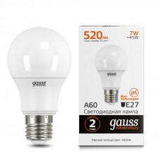 Лампа диодная A60 7Вт Е27 4100К 540Лм Gauss Elementary(10/100)