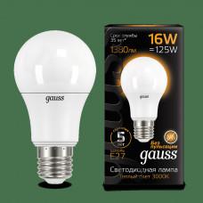 Лампа диодная A60 16Вт Е27 3000К 1380Лм Gauss Black (10/50)