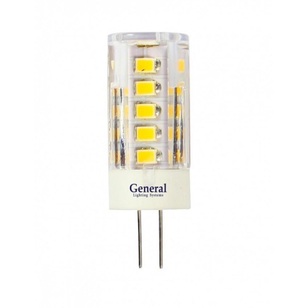 Лампа диодная G4 12В 5Вт 4500К 320Лм General пластик прозрачная (5/100)