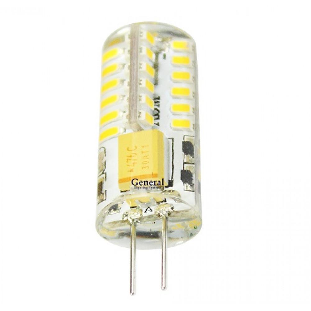 Лампа диодная G4 12В 3.5Вт 2700К 210Лм General силикон (5/100)
