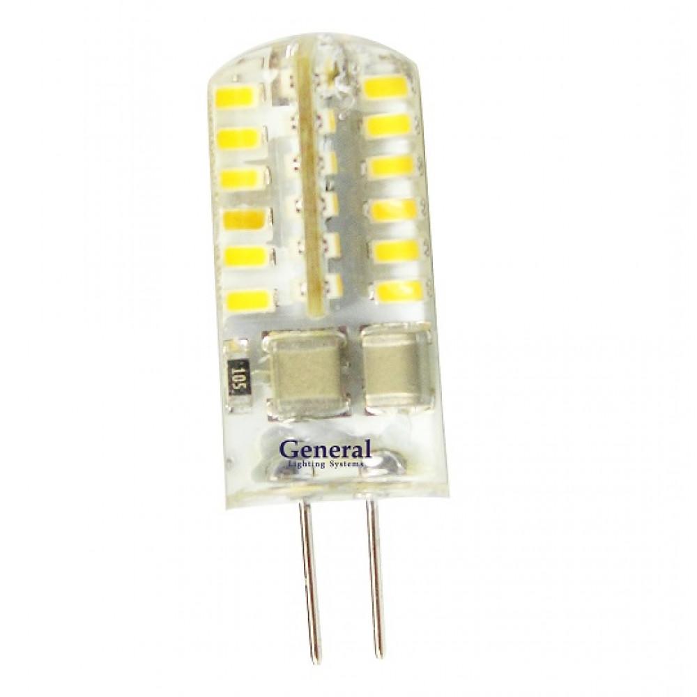 Лампа диодная G4 220В 3Вт 4500К 110Лм General силикон (5/100)