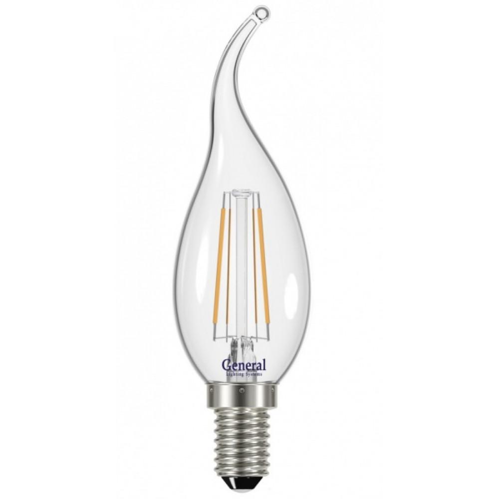 Лампа филамент свеча на ветру 12Вт Е14 4500К 930Лм General (10/100)