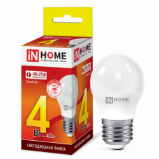 Лампа диодная шар G45 4Вт Е27 3000К 360Лм InHome (10)