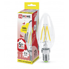 Лампа филамент свеча 5Вт Е14 3000К 450Лм InHome (10)