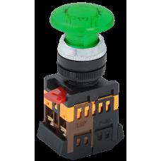 Кнопка IEK AELA-22 Гриб 1з+1р подсветка 240В зелёный (10)