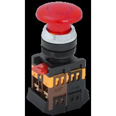 Кнопка IEK AELA-22 Гриб 1з+1р подсветка 240В красный (10)