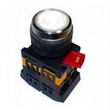 Кнопка IEK ABLFS-22 1з+1p 220В подсветка белый (10)